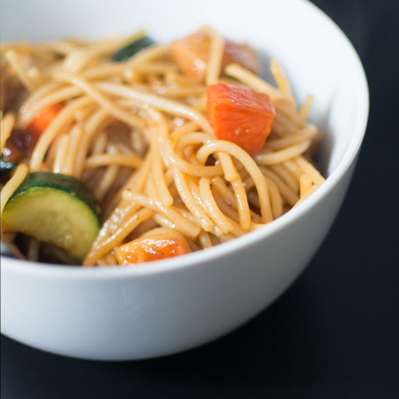 Gluten Free Dairy Free Family Friendly Peanut Sauce Noodle Stir Fry
