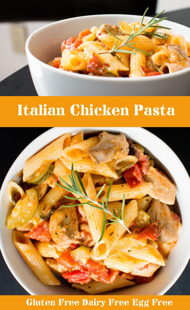 Italian Gluten free dairy free pasta pin for pinterest
