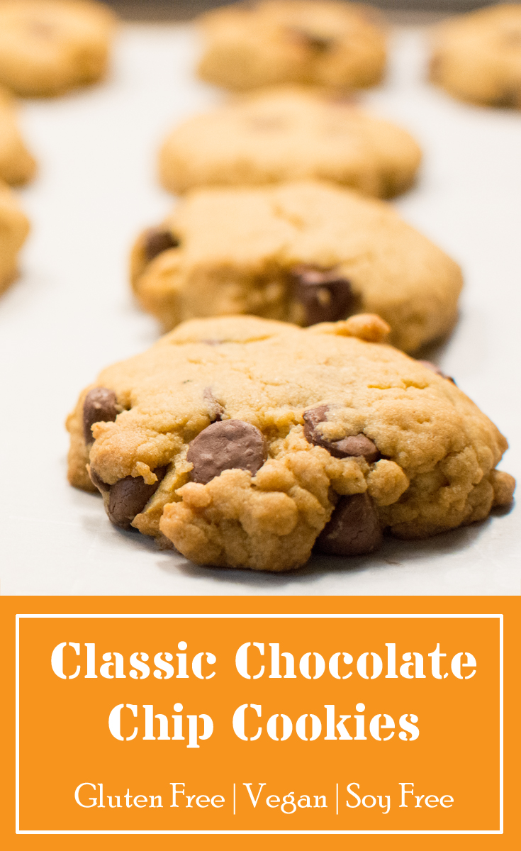 Gluten free, vegan and soy free classic chocolate chip cookies.